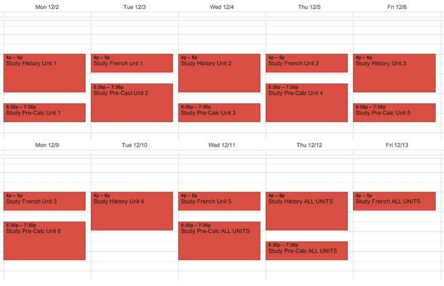 5-day calendar