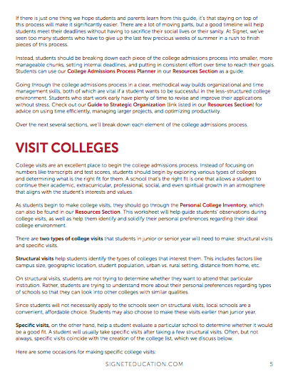 Signet's Guide to College Admissions   Signet Education